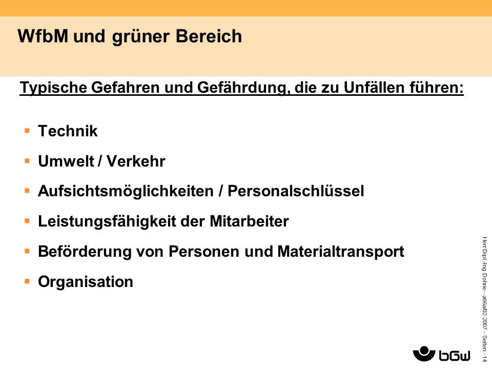 Herr Dipl.-Ing. Dohne – a66a/02-2007 – Seiten - 14 WfbM und grüner Bereich  Technik  Umwelt / Verkehr  Aufsichtsmöglichkeiten / Personalschlüssel 