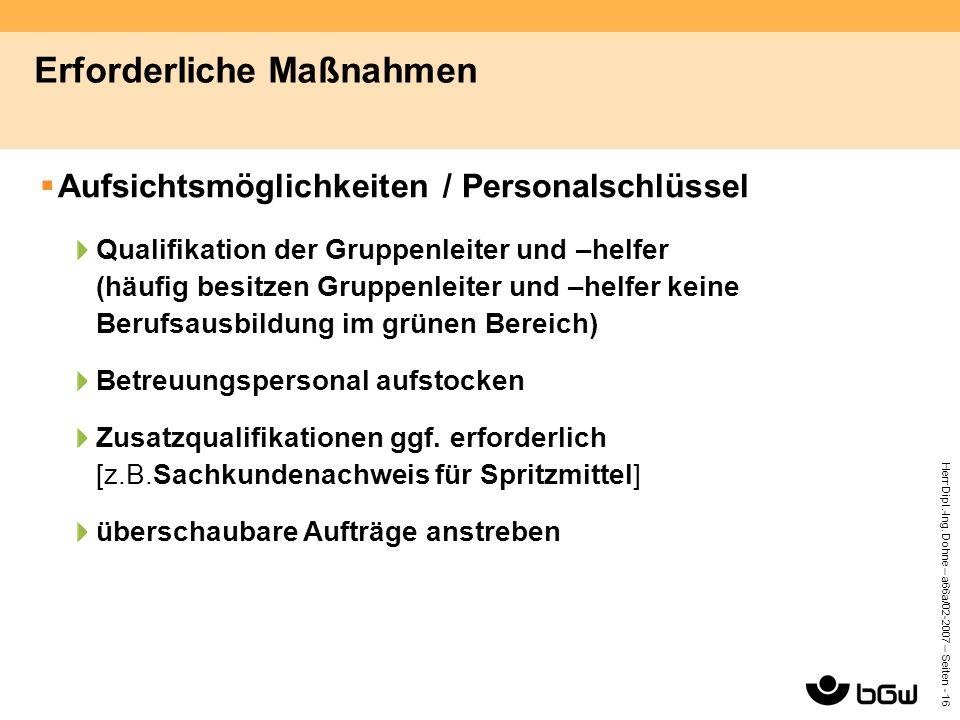 Herr Dipl.-Ing. Dohne – a66a/02-2007 – Seiten - 16 Erforderliche Maßnahmen  Aufsichtsmöglichkeiten / Personalschlüssel Qualifikation der Gruppenleite