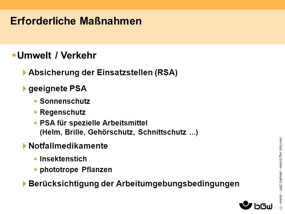 Herr Dipl.-Ing. Dohne – a66a/02-2007 – Seiten - 17 Erforderliche Maßnahmen  Umwelt / Verkehr Absicherung der Einsatzstellen (RSA) geeignete PSA  Son
