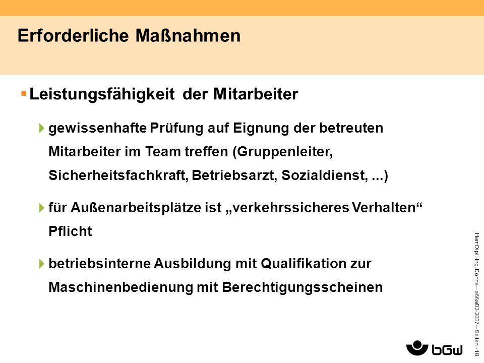 Herr Dipl.-Ing. Dohne – a66a/02-2007 – Seiten - 18 Erforderliche Maßnahmen  Leistungsfähigkeit der Mitarbeiter gewissenhafte Prüfung auf Eignung der