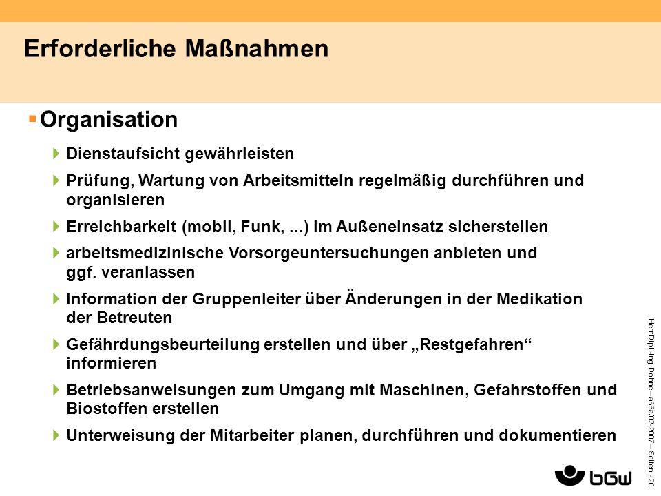 Herr Dipl.-Ing. Dohne – a66a/02-2007 – Seiten - 20 Erforderliche Maßnahmen  Organisation Dienstaufsicht gewährleisten Prüfung, Wartung von Arbeitsmit
