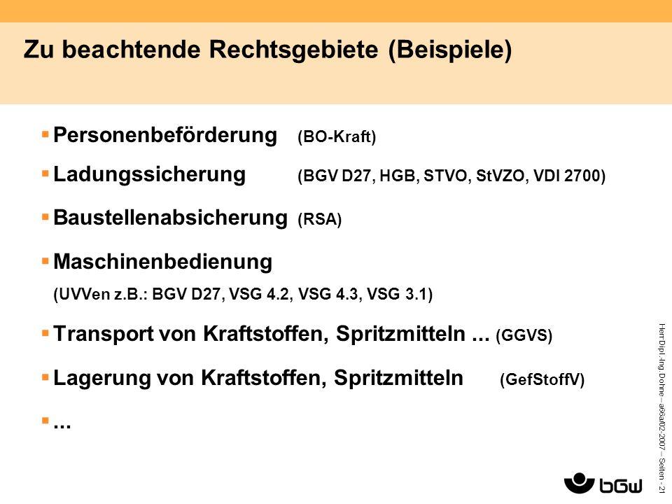 Herr Dipl.-Ing. Dohne – a66a/02-2007 – Seiten - 21 Zu beachtende Rechtsgebiete (Beispiele)  Personenbeförderung (BO-Kraft)  Ladungssicherung (BGV D2