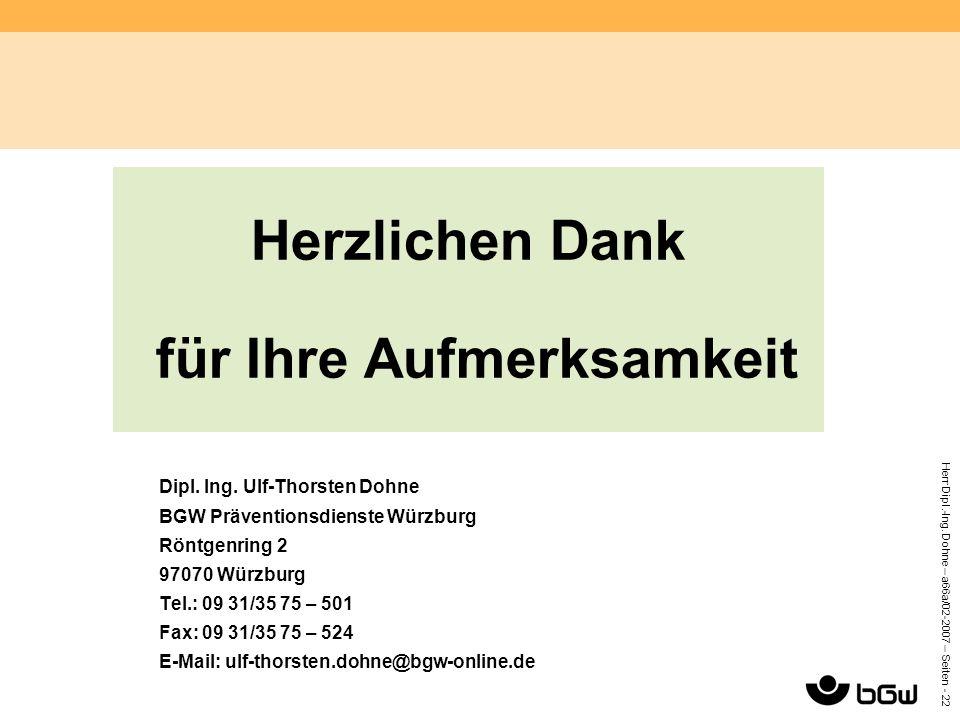 Herr Dipl.-Ing. Dohne – a66a/02-2007 – Seiten - 22 Herzlichen Dank für Ihre Aufmerksamkeit Dipl. Ing. Ulf-Thorsten Dohne BGW Präventionsdienste Würzbu