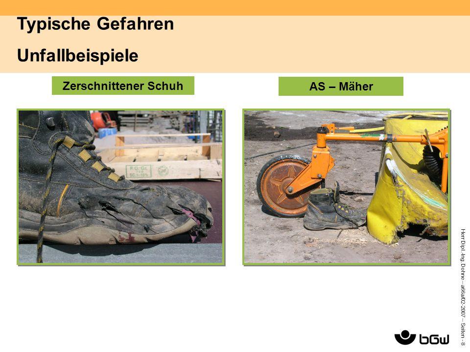 Herr Dipl.-Ing. Dohne – a66a/02-2007 – Seiten - 8 Zerschnittener Schuh AS – Mäher Typische Gefahren Unfallbeispiele