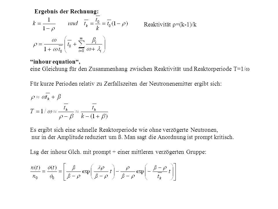 """""""inhour equation"""", eine Gleichung für den Zusammenhang zwischen Reaktivität und Reaktorperiode T=1/ω Für kurze Perioden relativ zu Zerfallszeiten der"""