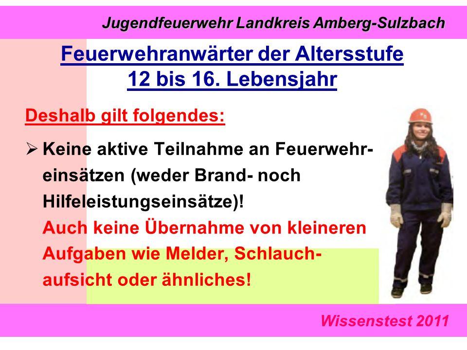 Wissenstest 2011 Jugendfeuerwehr Landkreis Amberg-Sulzbach Jugendfeuerwehr Landkreis Amberg-Sulzbach Deshalb gilt folgendes:  Keine aktive Teilnahme an Feuerwehr- einsätzen (weder Brand- noch Hilfeleistungseinsätze).