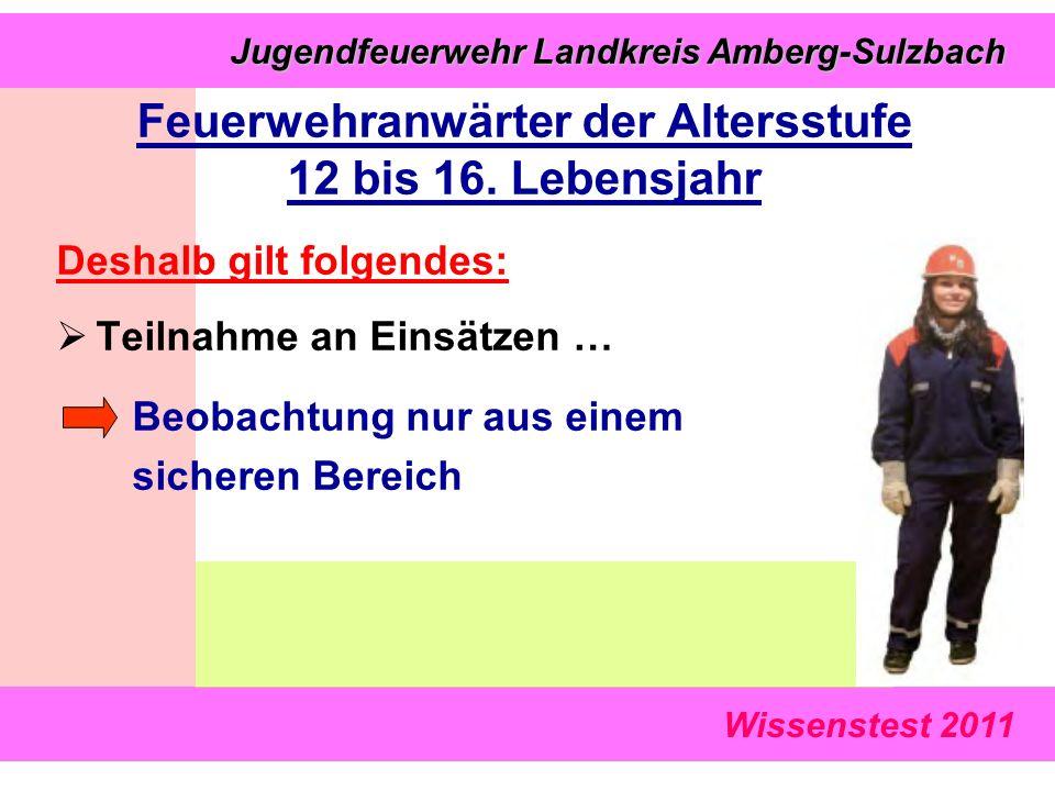 Wissenstest 2011 Jugendfeuerwehr Landkreis Amberg-Sulzbach Jugendfeuerwehr Landkreis Amberg-Sulzbach Deshalb gilt folgendes:  Teilnahme an Einsätzen … Beobachtung nur aus einem sicheren Bereich Feuerwehranwärter der Altersstufe 12 bis 16.