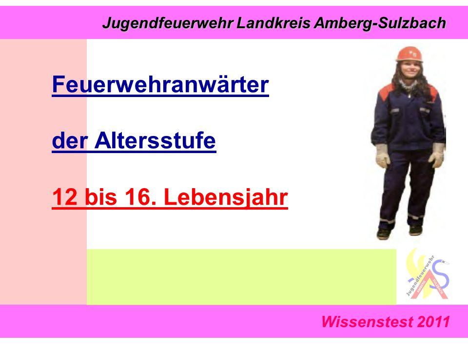 Wissenstest 2011 Jugendfeuerwehr Landkreis Amberg-Sulzbach Jugendfeuerwehr Landkreis Amberg-Sulzbach Feuerwehranwärter der Altersstufe 12 bis 16. Lebe