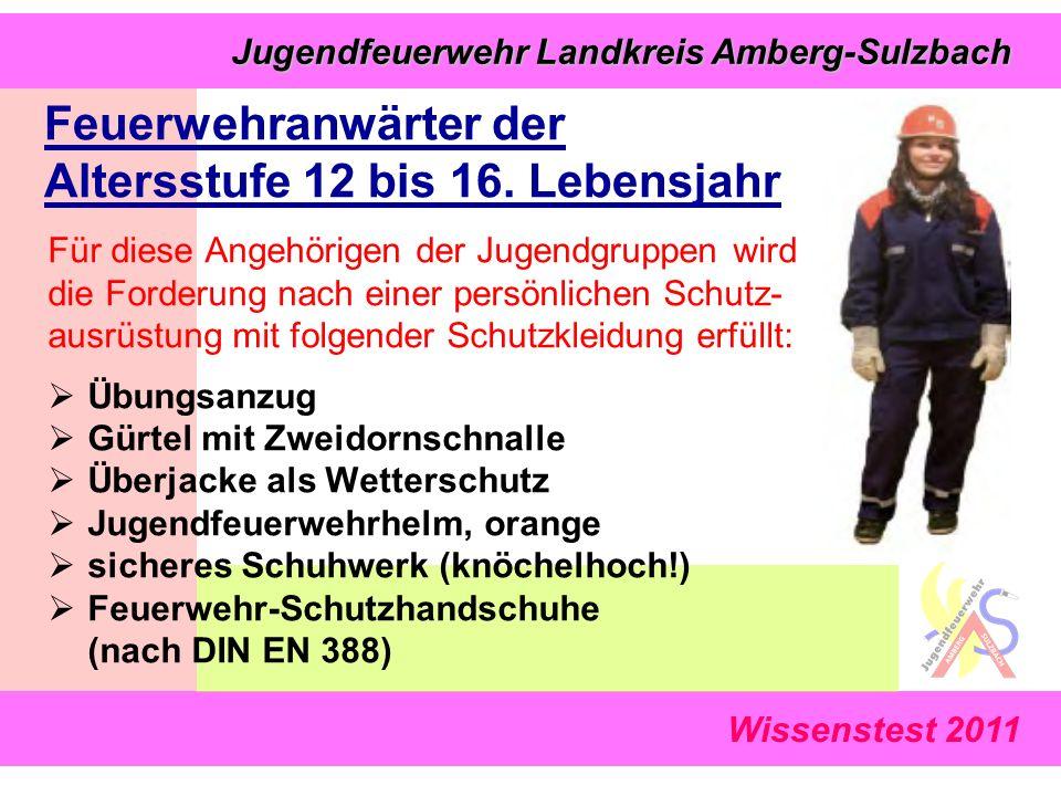 Wissenstest 2011 Jugendfeuerwehr Landkreis Amberg-Sulzbach Jugendfeuerwehr Landkreis Amberg-Sulzbach Feuerwehranwärter der Altersstufe 12 bis 16.