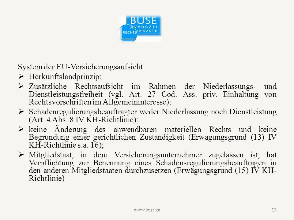 System der EU-Versicherungsaufsicht:  Herkunftslandprinzip;  Zusätzliche Rechtsaufsicht im Rahmen der Niederlassungs- und Dienstleistungsfreiheit (vgl.