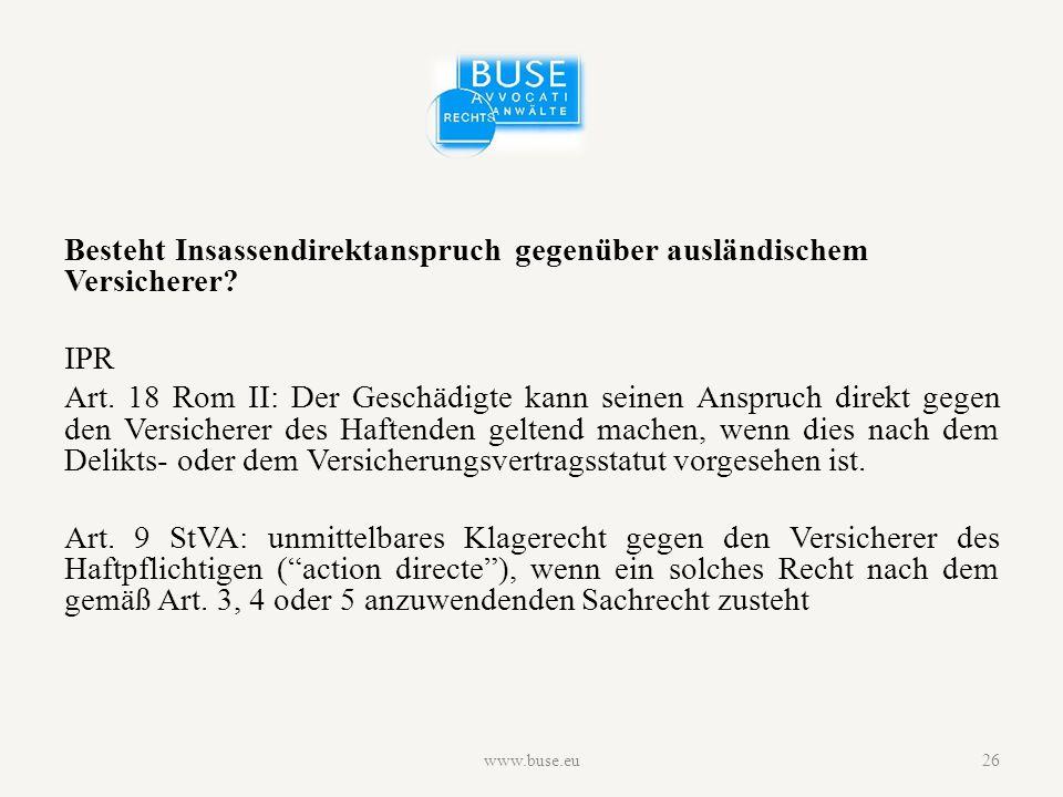Besteht Insassendirektanspruch gegenüber ausländischem Versicherer.