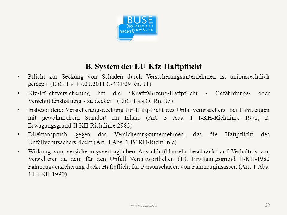B. System der EU-Kfz-Haftpflicht Pflicht zur Seckung von Schäden durch Versicherungsunternehmen ist unionsrechtlich geregelt (EuGH v. 17.03.2011 C-484