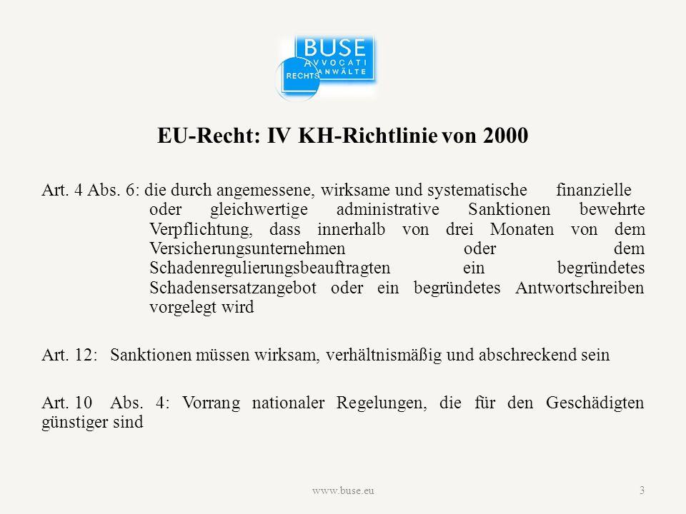 EU-Recht: IV KH-Richtlinie von 2000 Art. 4 Abs.