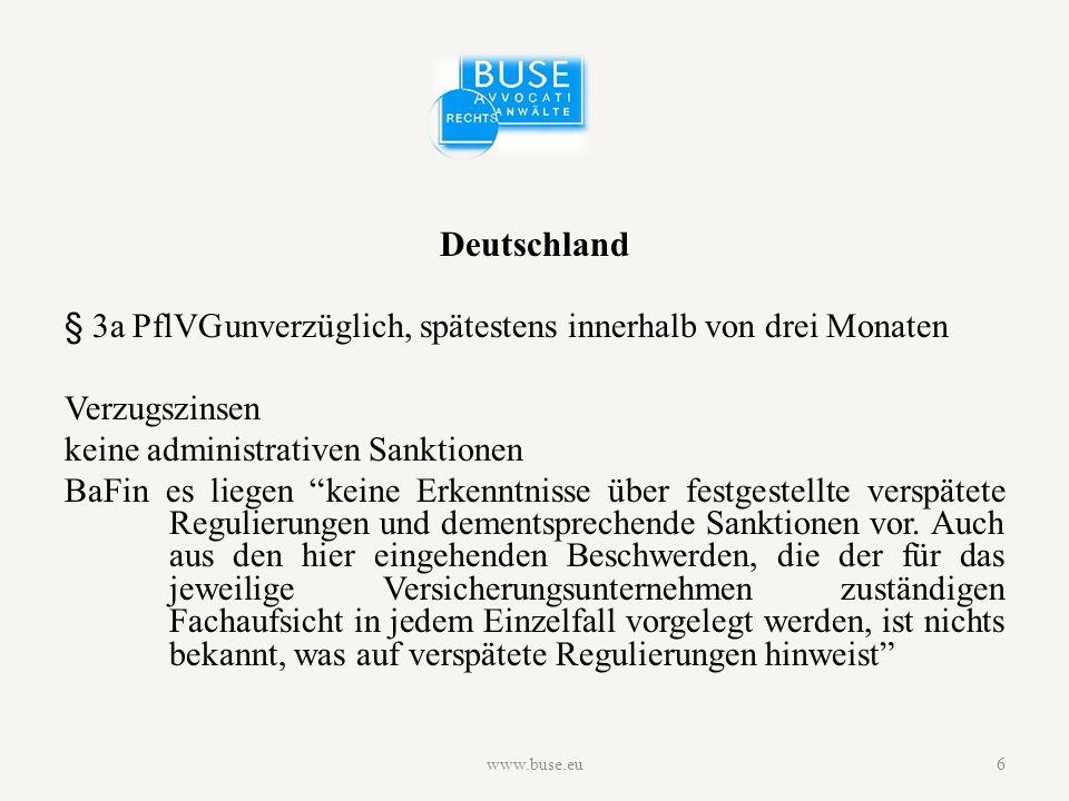 Deutschland § 3a PflVGunverzüglich, spätestens innerhalb von drei Monaten Verzugszinsen keine administrativen Sanktionen BaFin es liegen keine Erkenntnisse über festgestellte verspätete Regulierungen und dementsprechende Sanktionen vor.