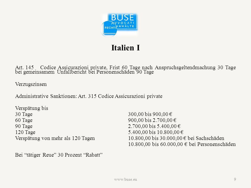 Italien II 2012  Beschwerden wegen verspäteter Regulierung -3.751 an IVASS -68.012 an Versicherungsunternehmen  Verhängte Sanktionen -3.582 über insgesamt 30.944.239 € www.buse.eu10