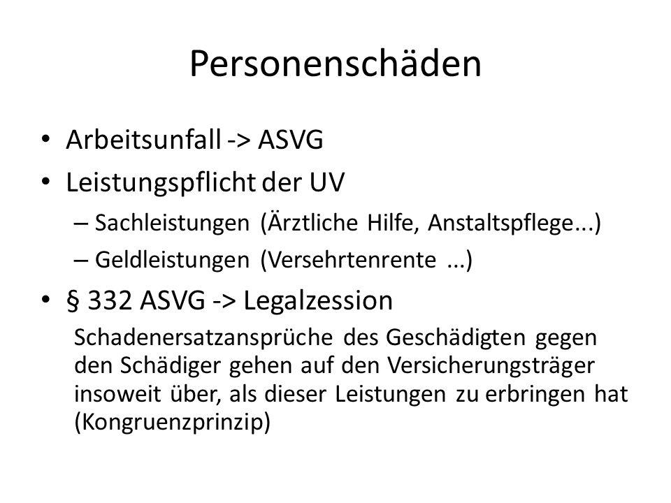 Personenschäden Arbeitsunfall -> ASVG Leistungspflicht der UV – Sachleistungen (Ärztliche Hilfe, Anstaltspflege...) – Geldleistungen (Versehrtenrente.