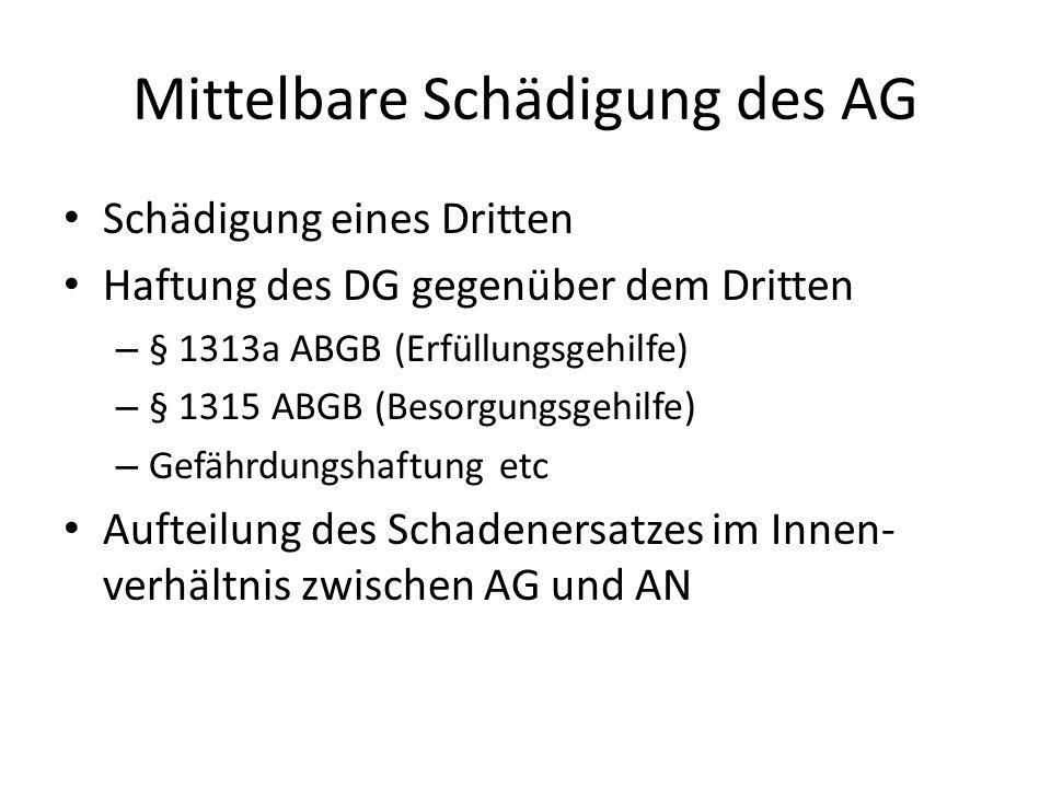 Mittelbare Schädigung des AG Schädigung eines Dritten Haftung des DG gegenüber dem Dritten – § 1313a ABGB (Erfüllungsgehilfe) – § 1315 ABGB (Besorgungsgehilfe) – Gefährdungshaftung etc Aufteilung des Schadenersatzes im Innen- verhältnis zwischen AG und AN