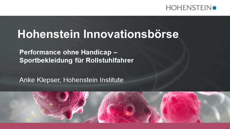 Hohenstein Innovationsbörse Performance ohne Handicap – Sportbekleidung für Rollstuhlfahrer Anke Klepser, Hohenstein Institute
