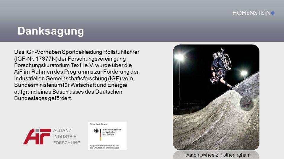 Danksagung Das IGF-Vorhaben Sportbekleidung Rollstuhlfahrer (IGF-Nr.