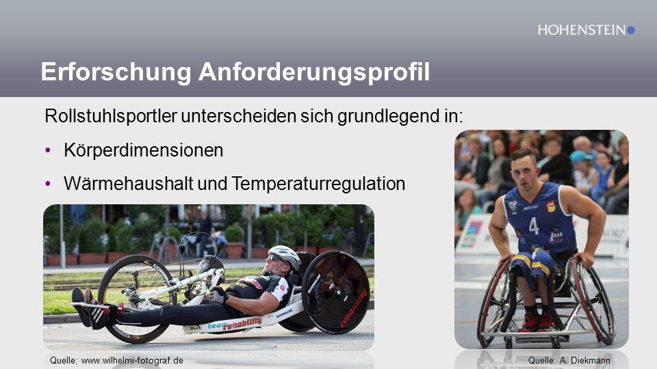 Erforschung Anforderungsprofil Rollstuhlsportler unterscheiden sich grundlegend in: Körperdimensionen Wärmehaushalt und Temperaturregulation Quelle: www.wilhelmi-fotograf.deQuelle: A.