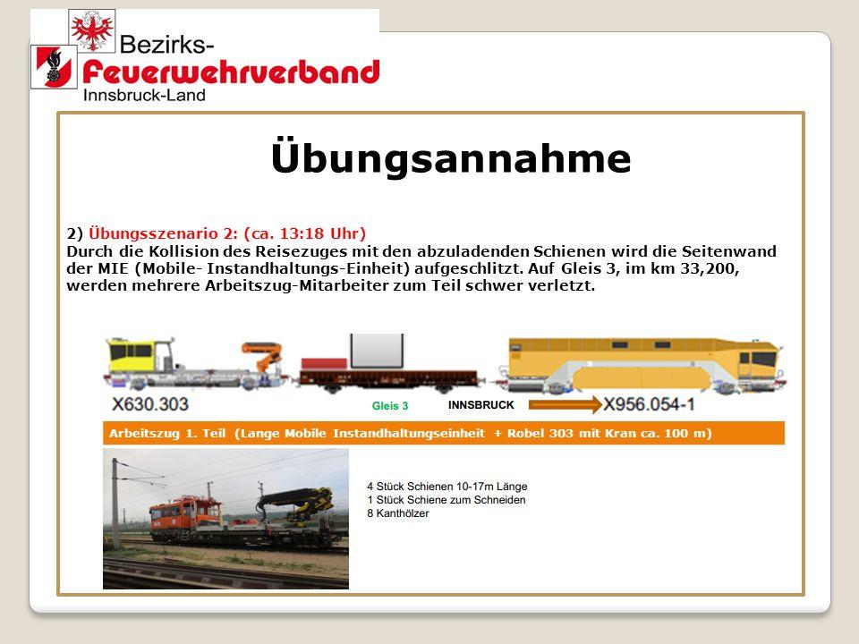 Übungsannahme 2) Übungsszenario 2: (ca. 13:18 Uhr) Durch die Kollision des Reisezuges mit den abzuladenden Schienen wird die Seitenwand der MIE (Mobil
