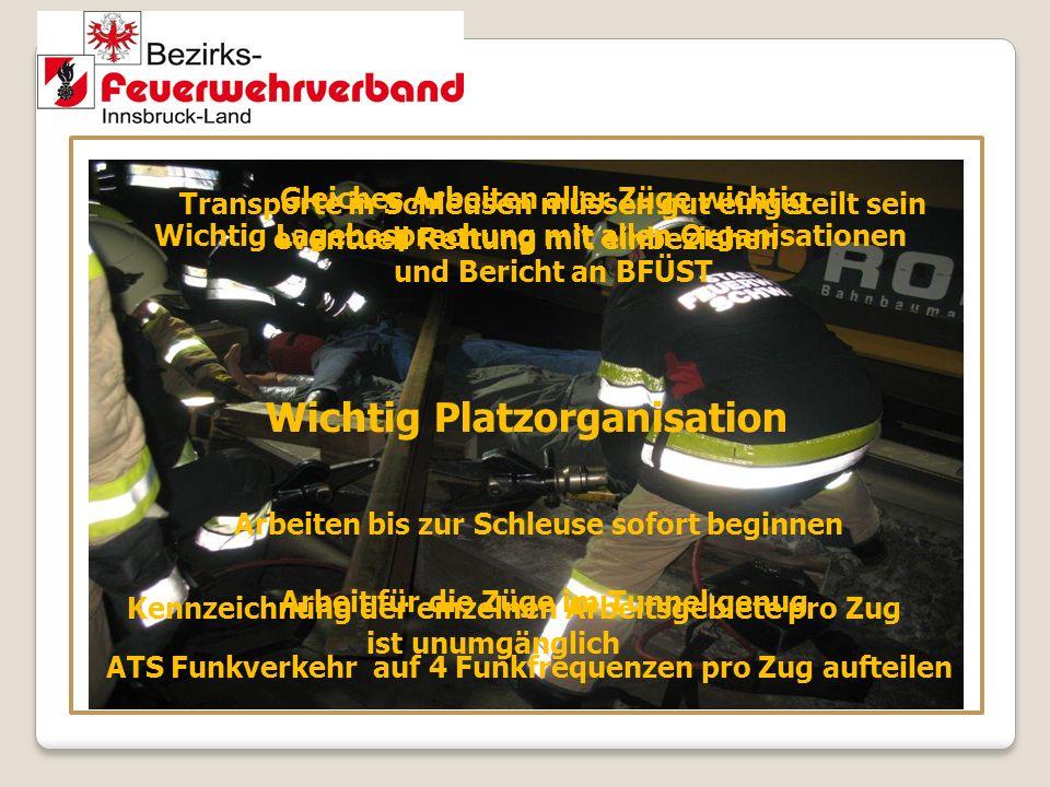 Wichtig Platzorganisation Wichtig Lagebesprechung mit allen Organisationen und Bericht an BFÜST ATS Funkverkehr auf 4 Funkfrequenzen pro Zug aufteilen