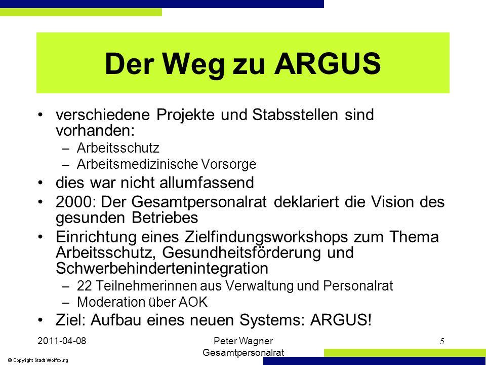 2011-04-08Peter Wagner Gesamtpersonalrat 16 ARGUS-Kommissionen verantwortlich für die Umsetzung des Arbeits- und Gesundheitsschutzes vor Ort in den jeweiligen Dienststellen mindestens 2 Sitzungen pro Jahr und nach Bedarf grundsätzliche Klärungsbedarfe konkrete Maßnahmen festsetzen