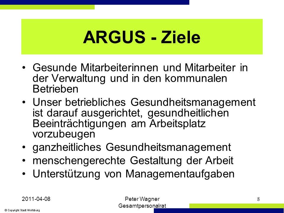 2011-04-08Peter Wagner Gesamtpersonalrat 9 ARGUS - Leitlinien Für uns steht der Mensch - jede Mitarbeiterin und jeder Mitarbeiter - im Mittelpunkt Wir beteiligen der Mitarbeiterinnen und Mitarbeiter (nach den Grundsätzen der Luxemburger Deklaration) Wir wollen Gesundheitspotentiale stärken und das Wohlbefinden am Arbeitsplatz verbessern Wir unterstützen Managementprozesse
