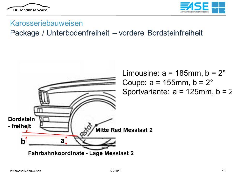 SS 20162 Karosseriebauweisen18 Karosseriebauweisen Package / Unterbodenfreiheit – vordere Bordsteinfreiheit Mitte Rad Messlast 2 Fahrbahnkoordinate -