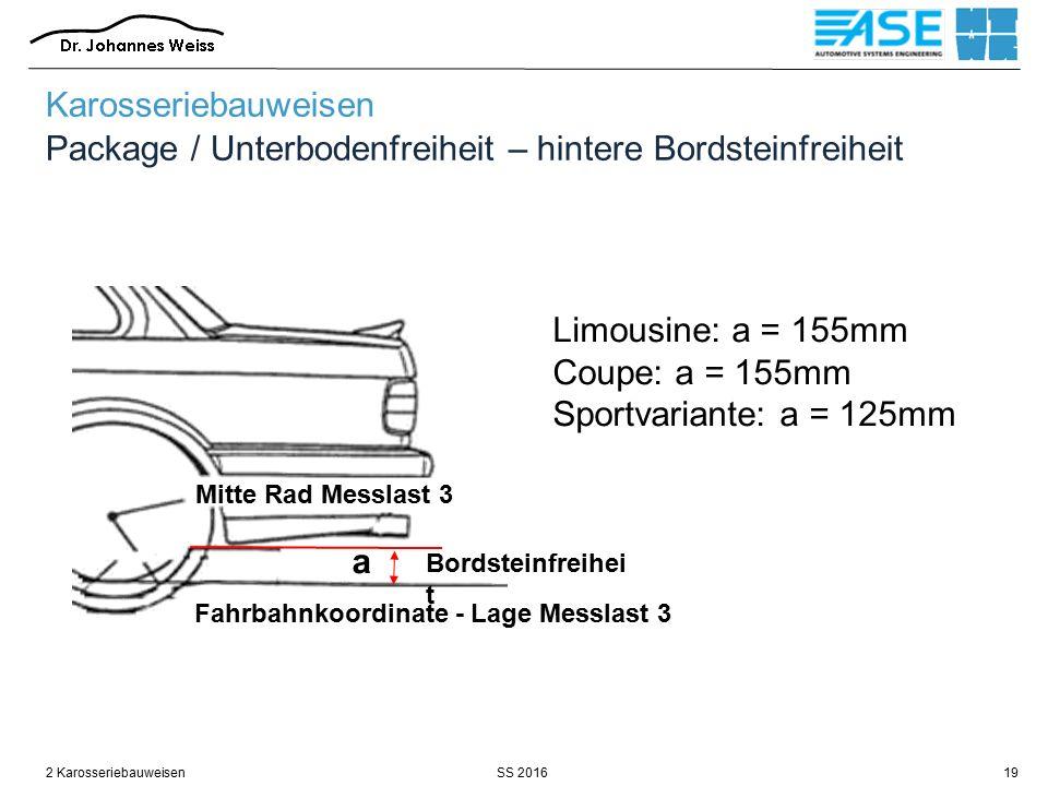 SS 20162 Karosseriebauweisen19 Karosseriebauweisen Package / Unterbodenfreiheit – hintere Bordsteinfreiheit Fahrbahnkoordinate - Lage Messlast 3 Bords