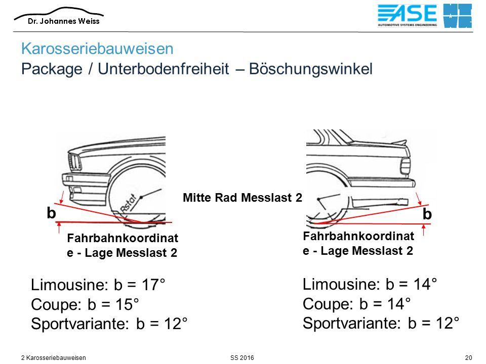 SS 20162 Karosseriebauweisen20 Karosseriebauweisen Package / Unterbodenfreiheit – Böschungswinkel Fahrbahnkoordinat e - Lage Messlast 2 Limousine: b =