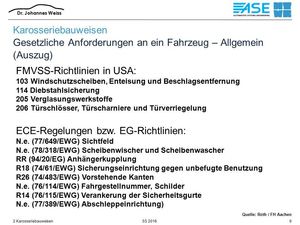 SS 20162 Karosseriebauweisen9 FMVSS-Richtlinien in USA: 103 Windschutzscheiben, Enteisung und Beschlagsentfernung 114 Diebstahlsicherung 205 Verglasun