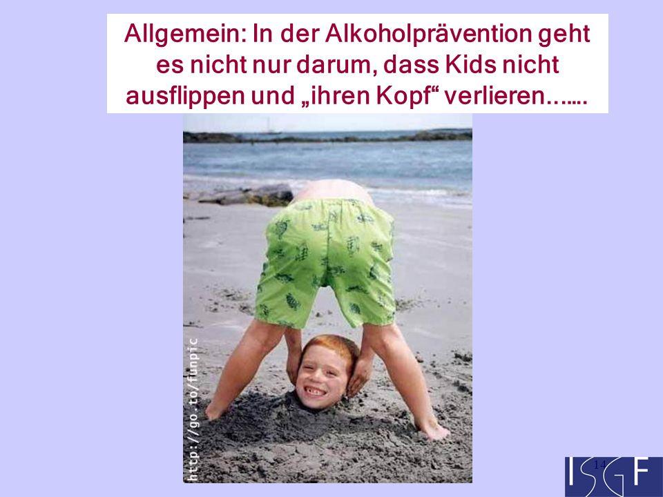 """14 Allgemein: In der Alkoholprävention geht es nicht nur darum, dass Kids nicht ausflippen und """"ihren Kopf verlieren...…."""