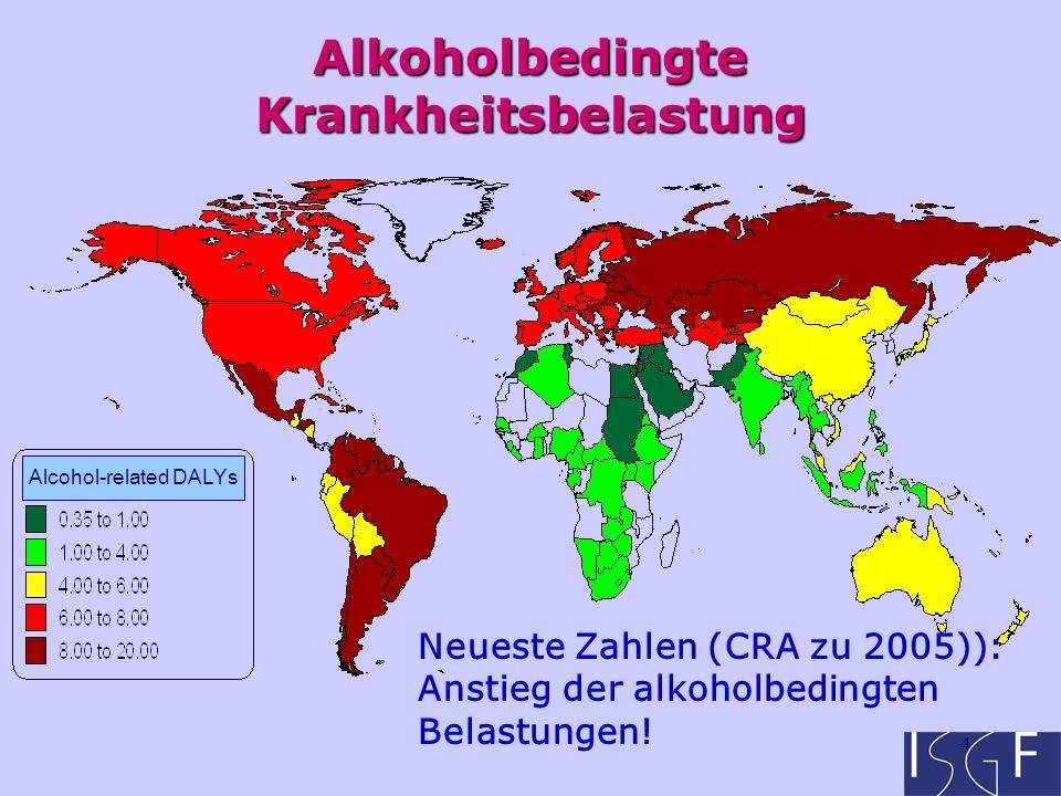 4 Alkoholbedingte Krankheitsbelastung Alcohol-related DALYs Neueste Zahlen (CRA zu 2005)): Anstieg der alkoholbedingten Belastungen!
