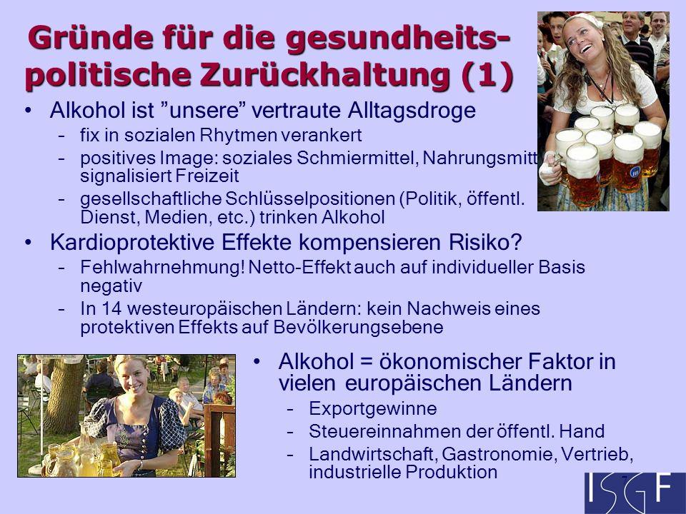 8 Politischer Einfluss der Alkoholindustrie –Zahlreiche weltweit operierende Braueren und Destillerien haben ihre Zentrale in Europa –Winzer sichern auf dem Ticket der Landwirtschaftspolitik ihre Sonderstellung –EU anfangs als Freihandelszone konzipiert: Industrie als Verhandlungspartner wohl gelitten zögerliche Verantwortungsübernahme für Public Health Fragen Symbolik von Alkohol, Trunkenheit, Abstinenz: –Widersprüchliche Bedeutungskontexte: Trunkenheit als Erwachsen-Sein , Rebellion, Autonomie Alkoholabstinenz als Symbol für Selbstkontrolle –Skandinavien, UK: Tradition des temperance movement –Russland: Nachwehen der Kampagne 1985-88 Gründe für die gesundheits- politische Zurückhaltung (2)