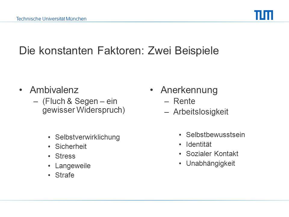 Technische Universität München Die konstanten Faktoren: Zwei Beispiele Ambivalenz –(Fluch & Segen – ein gewisser Widerspruch) Selbstverwirklichung Sicherheit Stress Langeweile Strafe Anerkennung –Rente –Arbeitslosigkeit Selbstbewusstsein Identität Sozialer Kontakt Unabhängigkeit