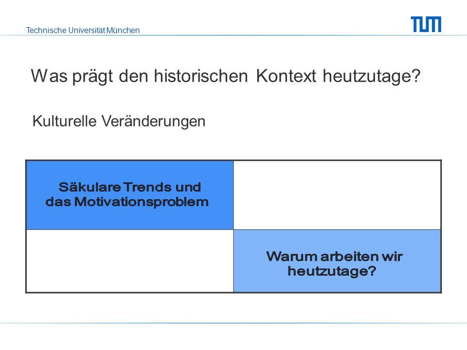 Technische Universität München Was prägt den historischen Kontext heutzutage.