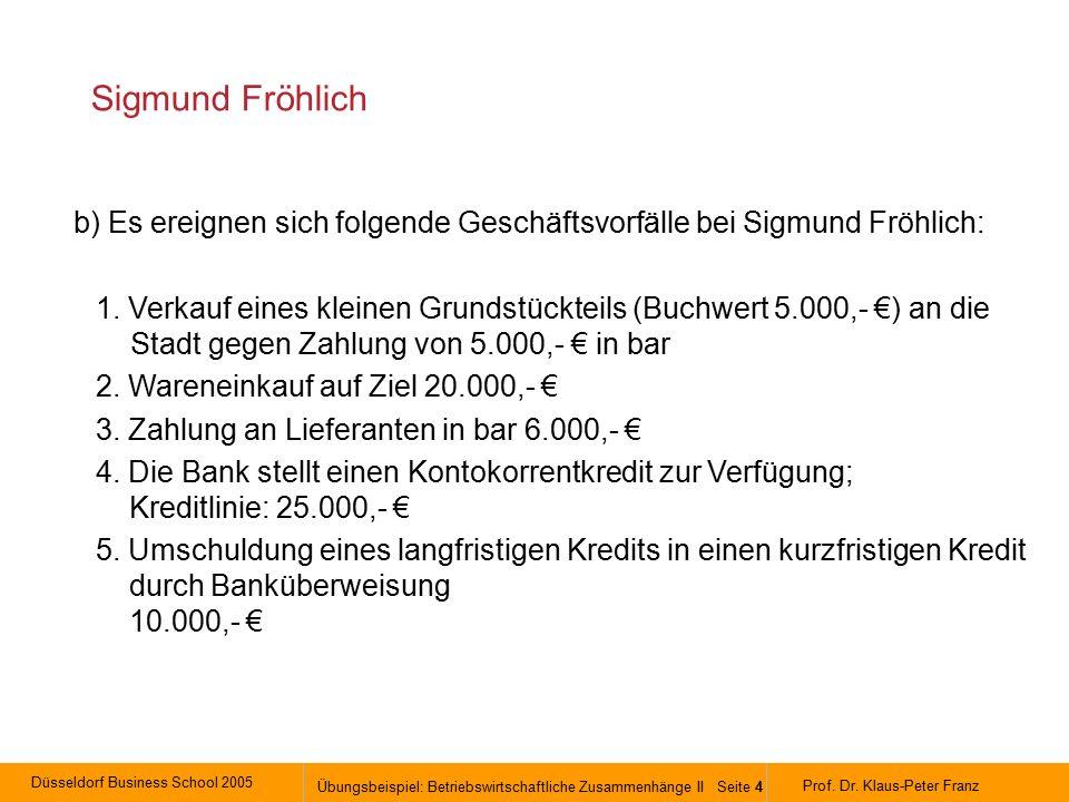Düsseldorf Business School 2005 Übungsbeispiel: Betriebswirtschaftliche Zusammenhänge II Seite 4 Prof.