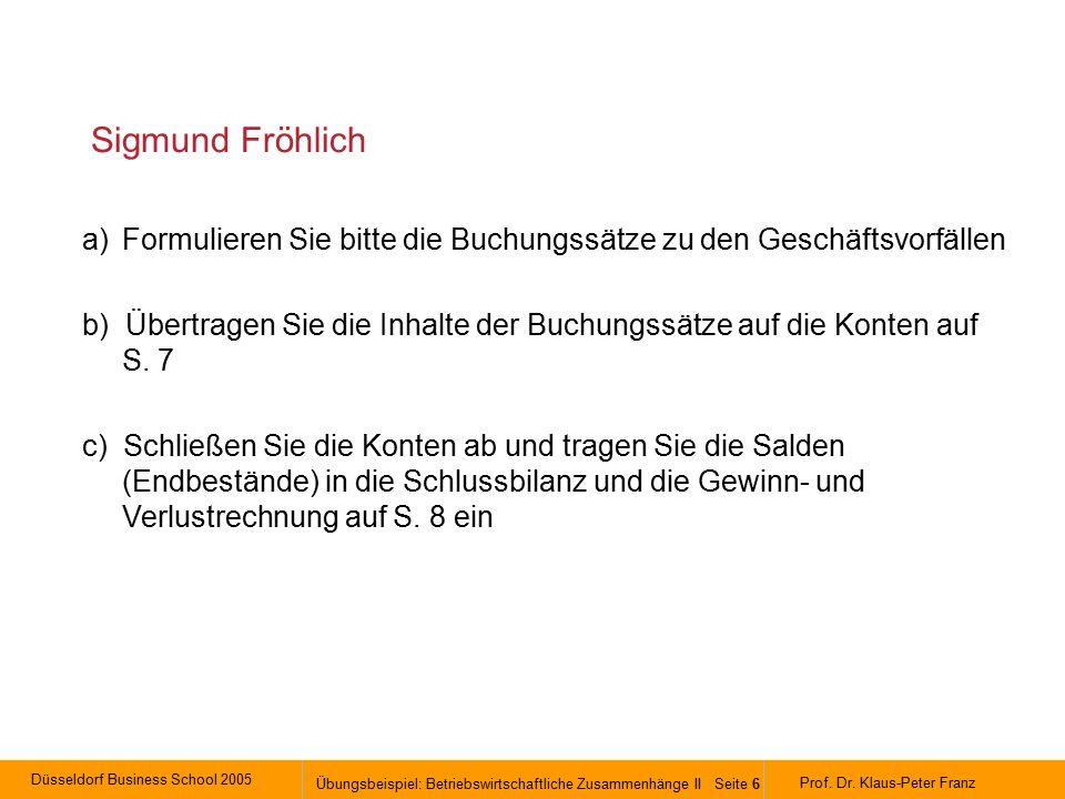 Düsseldorf Business School 2005 Übungsbeispiel: Betriebswirtschaftliche Zusammenhänge II Seite 6 Prof.