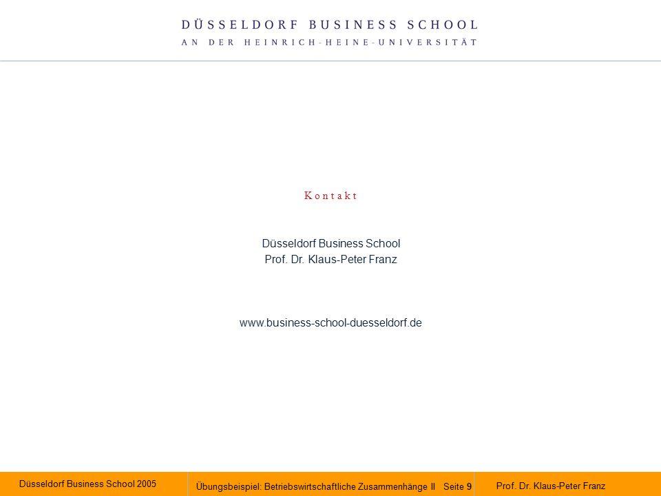 Düsseldorf Business School 2005 Übungsbeispiel: Betriebswirtschaftliche Zusammenhänge II Seite 9 Prof.