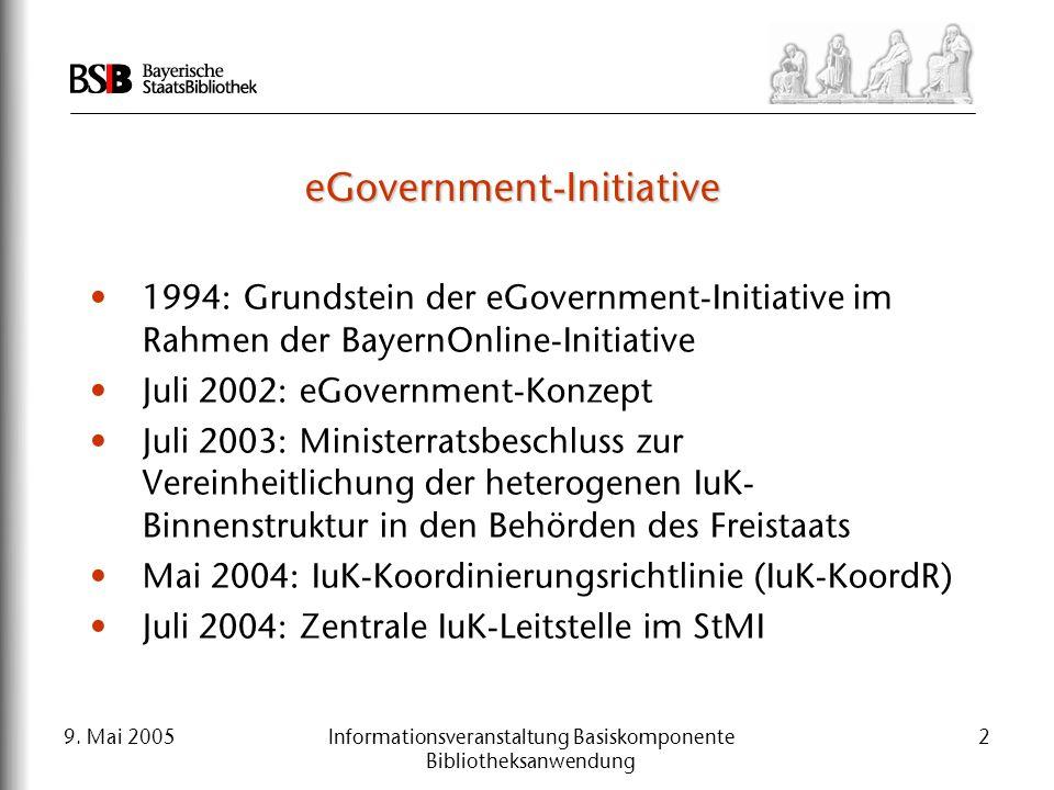 9. Mai 2005Informationsveranstaltung Basiskomponente Bibliotheksanwendung 2 eGovernment-Initiative 1994: Grundstein der eGovernment-Initiative im Rahm