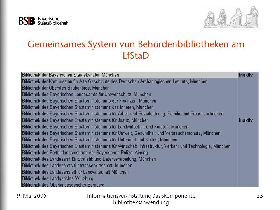 9. Mai 2005Informationsveranstaltung Basiskomponente Bibliotheksanwendung 23 Gemeinsames System von Behördenbibliotheken am LfStaD