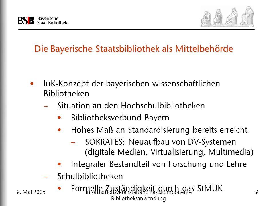 9. Mai 2005Informationsveranstaltung Basiskomponente Bibliotheksanwendung 9 Die Bayerische Staatsbibliothek als Mittelbehörde IuK-Konzept der bayerisc