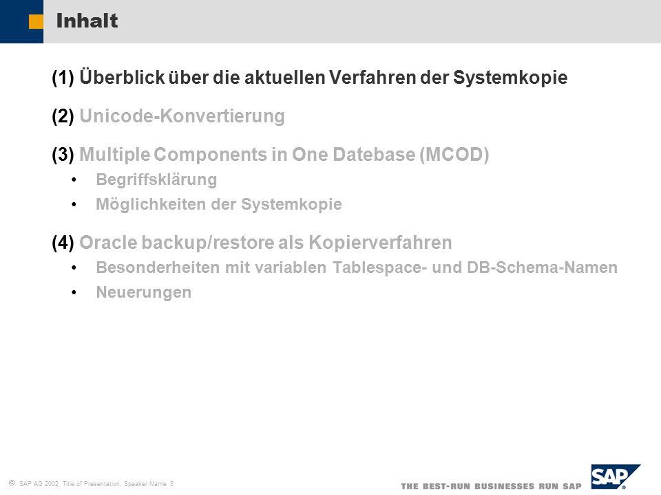   SAP AG 2002, Title of Presentation, Speaker Name 14 MCOD - Begriffsklärung PSAPA01 PSAPA01620 PSAPA01USR DBX RDBMS SAP Application A01 System 1: SAP SID: A01 DB SID: DBX SAPA01 System 2: SAP SID: A02 DB SID: DBX PSAPA02 PSAPA02620 PSAPA02USR SAP Application A02 SAPA02 MCOD- System
