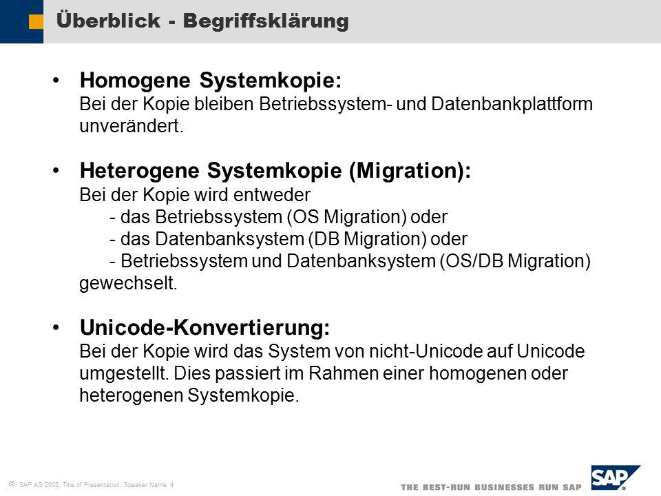   SAP AG 2002, Title of Presentation, Speaker Name 4 Überblick - Begriffsklärung Homogene Systemkopie: Bei der Kopie bleiben Betriebssystem- und Datenbankplattform unverändert.
