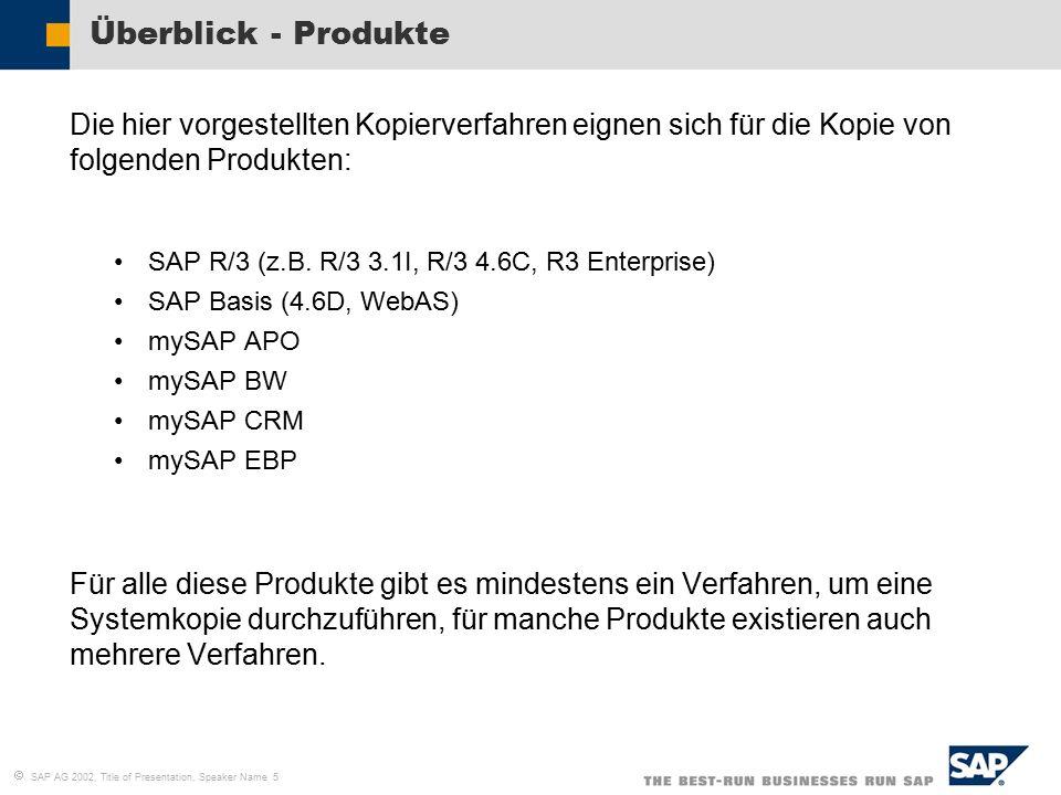   SAP AG 2002, Title of Presentation, Speaker Name 5 Überblick - Produkte Die hier vorgestellten Kopierverfahren eignen sich für die Kopie von folgenden Produkten: SAP R/3 (z.B.