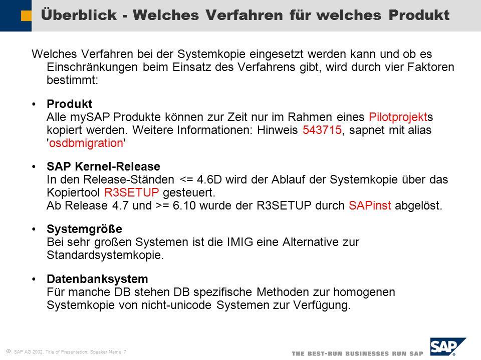   SAP AG 2002, Title of Presentation, Speaker Name 7 Überblick - Welches Verfahren für welches Produkt Welches Verfahren bei der Systemkopie eingese