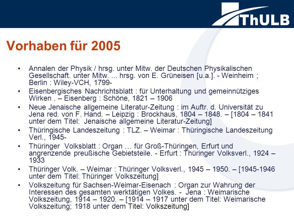 Vorhaben für 2005 Annalen der Physik / hrsg. unter Mitw.