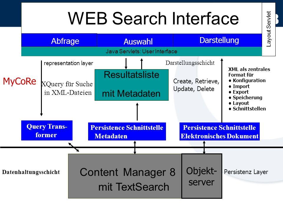 WEB Search Interface Abfrage Auswahl Darstellung Content Manager 8 mit TextSearch Resultatsliste mit Metadaten Query Trans- former Persistence Schnitt