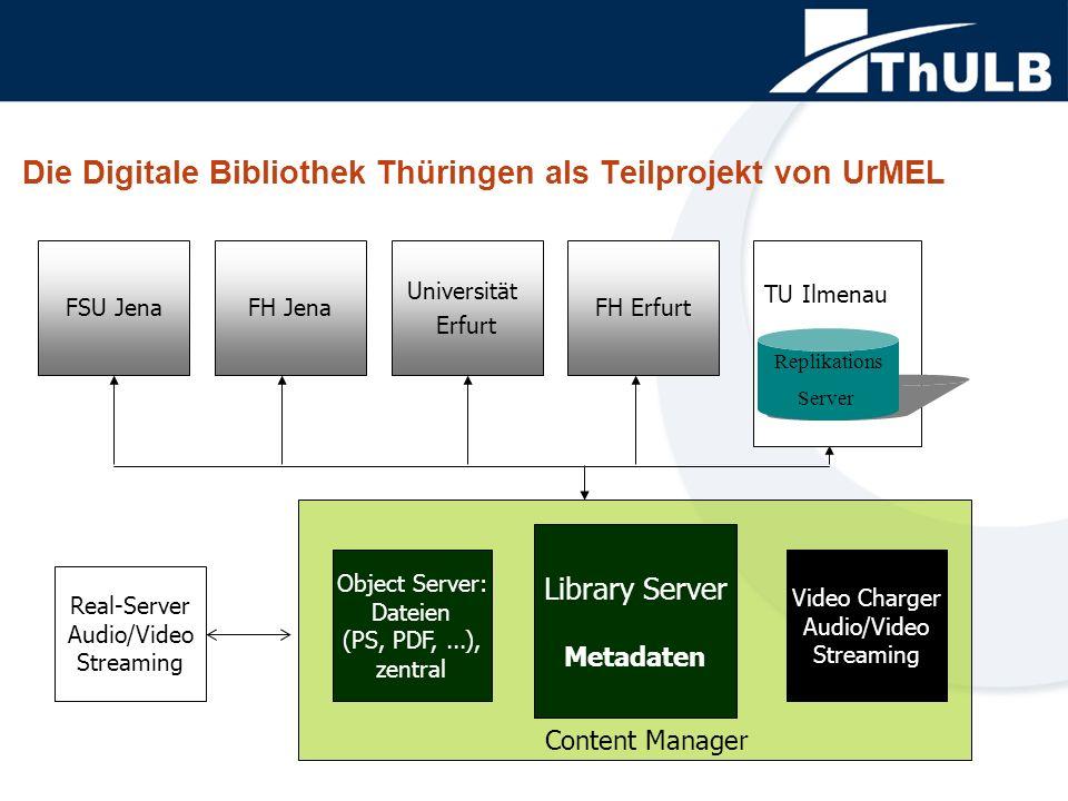 FSU Jena Die Digitale Bibliothek Thüringen als Teilprojekt von UrMEL Real-Server Audio/Video Streaming Object Server: Dateien (PS, PDF,...), zentral L